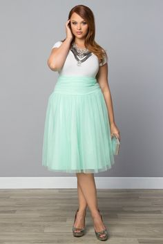 Don't want to sport a true green this St. Patrick's Day, but still want to be festive?  Try our plus size Twirling in Tulle Skirt, available in a trendy mint.  You can explore our entire made in the USA collection online at www.kiyonna.com.  #KiyonnaPlusYou
