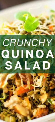 I really want to try new gluten-free quinoa salad recipes and this Crunchy Quinoa Salad looks so good! I can't wait to cook this easy meal for my family. It looks like the perfect vegan salad for lunch. SO PINNING! Best Quinoa Recipes, Vegetarian Salad Recipes, Healthy Gluten Free Recipes, Healthy Meats, Healthy Foods, Gluten Free Quinoa Salad, Dinner Salads, Dinners, Dinner Recipes