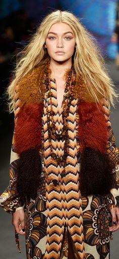 Gigi Hadid bohemian style on the Anna Sui runway