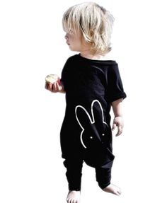 Baby Boy Girl Romper Bunny Print Short Sleeve Jumpsuit Zip Playsuit Outfit 9-12M