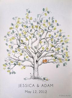 Fingerprint Tree Wedding Guest Book Alternative, Original Hand-drawn Large Twisted Oak Design (ink pads sold separately) by bleudetoi on Etsy https://www.etsy.com/listing/112861741/fingerprint-tree-wedding-guest-book
