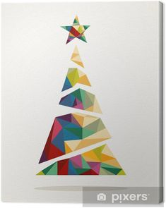 Illustration about Merry Christmas colorful abstract tree, decoration star with geometric composition. Illustration of christmas, triangle, invitation - 33920609 Christmas Tree Design, Cool Christmas Trees, Christmas Cards To Make, Xmas Cards, Christmas Crafts, Christmas Decorations, Christmas Ornaments, Christmas Tree Canvas, Painted Christmas Cards