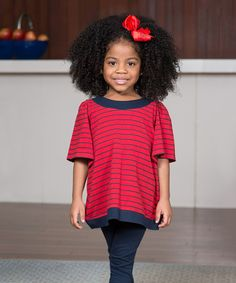 Red & Navy Stripe Banded Top - Toddler & Girls #zulilyfinds