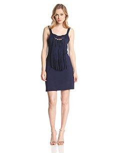 Trina Turk Womens Althea Must Have Jersey Fringe Dress Midnight Small >>> Continue to the product at the image link.