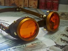 Steampunk Goggles Brass and Leather  The by Discombobulous on Etsy