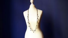 Long Chain Gemstone Necklace Freshwater Black Peacock Pearls Multi Strand Casual Beaded Necklace
