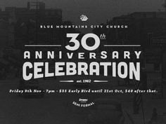 BMCC Anniversary designed by Dave Coleman. 30th Anniversary Parties, 50th Anniversary Invitations, Anniversary Logo, Graphic Design Inspiration, Design Ideas, Types Of Lettering, Work Party, Typography Letters, Branding Design