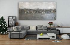 """Freue mich, euch diesen Artikel aus meinem Shop bei #etsy vorzustellen: VICTORIA XXXL Acryl Gemälde """"Steel"""" 250x120x3,5cm Abstrakt, Victoria, Gold Leaf, Picture Frames, Sky, The Originals, Abstract, Artwork, Blue, Painting"""