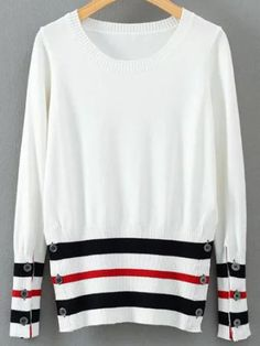 36936231f3 White Striped Round Neck Sweater With Buttons