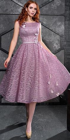 Exciting Lace Scoop Neckline Tea-length A-line Prom Dress With Sash & Handmade Flowers With Beadings
