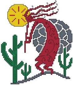 From Cross Stitch Wonders - Arizona Kokopelli      Great Arizona/Southwest Kokopelli design! Stitch count is 68 x 80. Included is a large/easy to read counted cross stitch chart, suggested DMC floss colors, and a color picture.