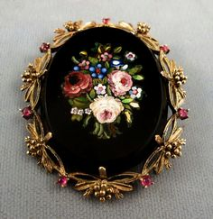 Exceptional 19th Century Micro Mosaic Pendant/Brooch - 14K, Rubies