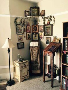 Prayer corner at home Prayer Corner, Prayer Wall, Prayer Room, Prayer Closet, Religious Icons, Religious Art, Home Altar Catholic, Catholic Relics, Orthodox Prayers