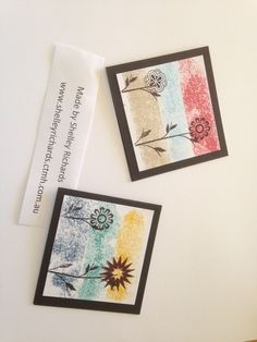 Painters tape was used to ink the background of each card. Stamp set used was A Happy Hello Stamp of the Month (S1502). Only available during the month of Feb 2015.