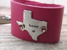 Texas-leather cuff-home-personalized-handstamped-cuff-bracelet-arkansas-oklahoma-california-massachusetts-new york on Etsy, $26.00