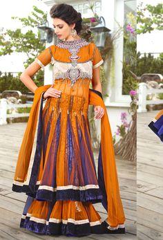 #Orange #Net #Stylish #Lehenga #Choli #nikvik  #usa #designer #australia #canada #freeshipping #wedding
