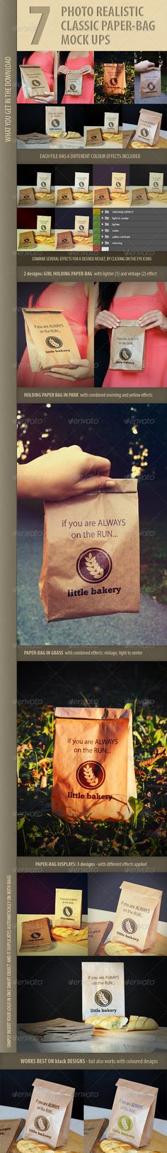 7 photo-realistic paper bag mock-ups  #GraphicRiver         7 photo-realistic designs of classic brown paper bag. Real photos of the bag being held by a girl, baked bread and pile of folded bags beside the bag, the bag in the park… In each file 6 different photo effects are included, which you can modify as you wish. Help file and all the instructions included.  	 Photoshop files are all high quality – from 2000×3000 to 3000×5000.  	 Logo in the previews is NOT included in the download and…