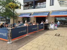 The Almanack Cafe Barriers from Brandline. Ads Creative, Outdoor Banners, Home Free, Lead Time, Decorations, Patio, Boutique, Canvas, Bar Stand