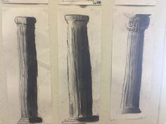 Kreikkalaiset pylväät. Valo ja varjo. Hiilipiirustus. 5lk.