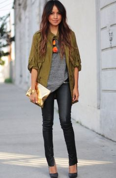 Leather leggings, grey top and khaki jacket