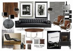 A furnishings mood board illustrating some ideas for masculine interior designs, incorporating neutral colours, dark woods and subtle patterns with a focus on simplicity. Masculine Living Rooms, Masculine Room, Masculine Interior, Masculine Office, Masculine Home Decor, Interior Design Living Room, Living Room Decor, Bedroom Decor, Living Spaces