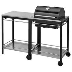 ÄPPLARÖ / KLASEN Charcoal grill with cart & cabinet - brown stained, stainless steel color - IKEA Powder Coating Wheels, Charcoal Bbq Grill, Fire Basket, Ikea Usa, Ikea Family, Grill Accessories, Black Stainless Steel, Galvanized Steel, Closets
