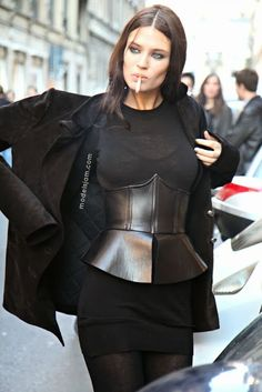 Bianca Balti after Iceberg, Milano, February 2012 I Love Fashion, High Fashion, Fashion Design, Fashion Black, Runway Fashion, Womens Fashion, Fashion Trends, Fashion Guide, Corset Outfit