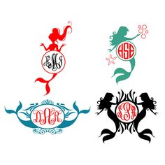 Mermaid Monogram Cuttable Svg Frames