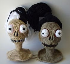 Here is the pattern for the Shrunken Head Guy from Beetlejuice and the bride I made for him.     Don't worry about getting things e...