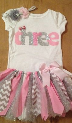 Pink and Silver Third Birthday Tutu Outfit by ScrapHappyTutus, $40.00