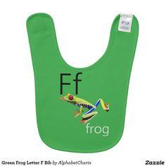 Green Frog Letter F Bib
