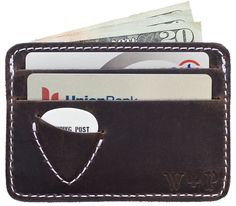 For your musician friend: Georgia Brown Plectrum Wallet with guitar pick holder.