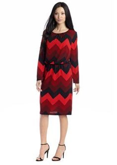 RM Richards  Long Sleeve Chevron Printed Blouson Dress