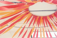 STREAMER CANOPY TUTORIAL step 1 - Fold streamers over hula hoop. step 2 - Unravel to the length you want. step 3 - Hang up Hula Hoop to ceiling with staple/ripped streamer side UP. step 4 - Start pulling out peices and taping to ceiling Hula Hoop, Diy Birthday Decorations, Diy Streamer Decorations, Decorating With Streamers, Party Streamers, Diy Décoration, Ceiling Decor, Grad Parties, Diy Party