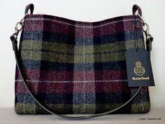 Harris Tweed Shoulder/ Tote Bag - Purple & Green Check