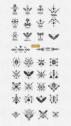 Big Tribal bundle by tatiletters on Indian Arrow Tattoo, Traditional Filipino Tattoo, Tribal Henna Designs, African Logo, Tribal Logo, Geometric Symbols, Bijoux Design, Native American Symbols, Stick N Poke Tattoo