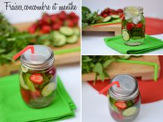 fraises-concombre Pickles, Cucumber, Spa, Vegetables, Food, Drinks, Strawberries, Mint, Drinking Water