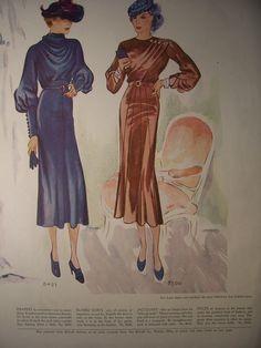 1935 McCalls PATTERN ADVERTISEMENT Fashion Prints Home Decor Wall Decor 1930s Fashions Frocks Vintage Advertisement Ready To Frame. $6.50, via Etsy.