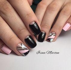 Pink black and glitter nails