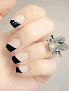 A twist on black french tip manicure!