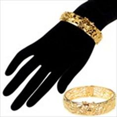 Nobel Golden Metal Bangle Bracelet with Dragon Pattern + Clip Jewelry Jewel Collection Gift