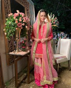 is wearing, Outfit by: Jewellery by: Makeup & Hair by: Pakistani Fancy Dresses, Bridal Mehndi Dresses, Pakistani Wedding Outfits, Bridal Dress Design, Pakistani Dress Design, Bridal Outfits, Bridal Style, Traditional Fashion, Traditional Outfits