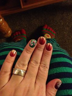 My Christmas Nails!  Happy Christmas Eve Everyone!! #christmas #christmaseve #christmasnails #nails #merrychristmas #joy #believe #happy #green #red #sparkles #nailstyle #noel #stripes #white #santaclausiscomingtonight #cozy #instalike #photooftheday #beauty #beautiful #bestoftheday #december24th