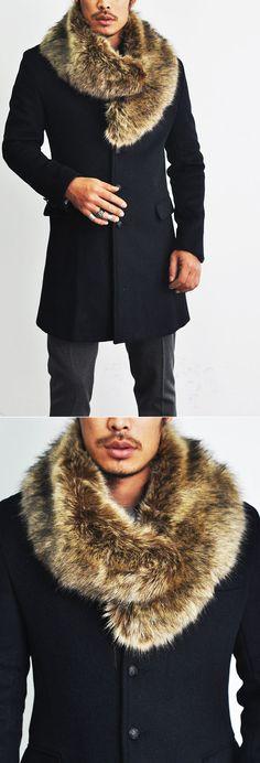 Men's Faux Rabbit Fur Scarf