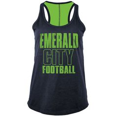 Seattle Seahawks 5th & Ocean by New Era Women's Training Camp Racerback Tank Top - College Navy/Neon Green