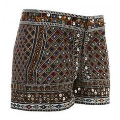 Moroccan style shorts zara sequins glitters sparkle embroidered