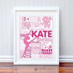 Custom Ballet Dancer Teen Room Decor Poster Personalized Dance Typography Print 16 X 20 Via