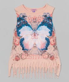 Look what I found on #zulily! Bloom Butterfly Fringe Tank - Girls #zulilyfinds