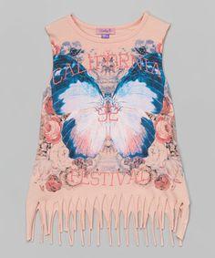 Look what I found on #zulily! Bloom Butterfly Fringe Tank - Girls #zulilyfinds