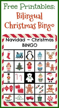 Free printables: Bilingual Christmas Bingo - set of 12 free printable Christmas bingo sheets -- Bingo de Navidad en español!